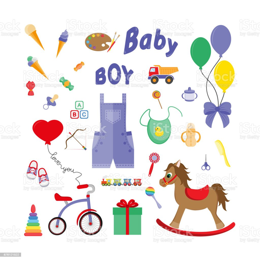 Baby icons for boys. Icon. Vector. Flat. vector art illustration