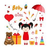 Baby icons for girls. Icon set for web and mobile application. Vector illustration on a white background. Flat design style.