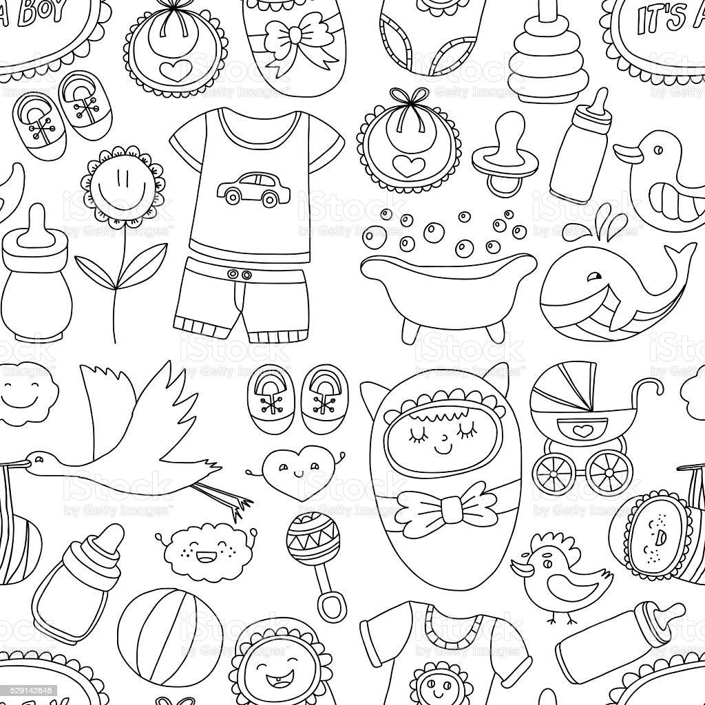 ベビー手描き落書きベクトルアイコンを設定します。 ベクターアートイラスト