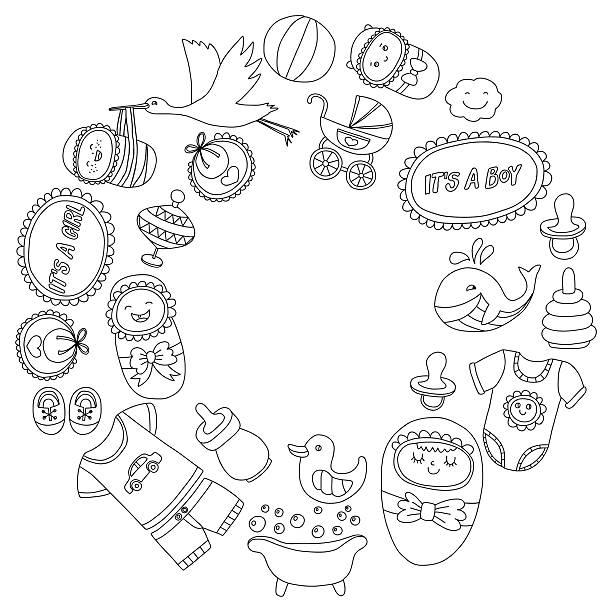 ベビー手描き落書きベクトルアイコンを設定します。 - 花のボーダー点のイラスト素材/クリップアート素材/マンガ素材/アイコン素材