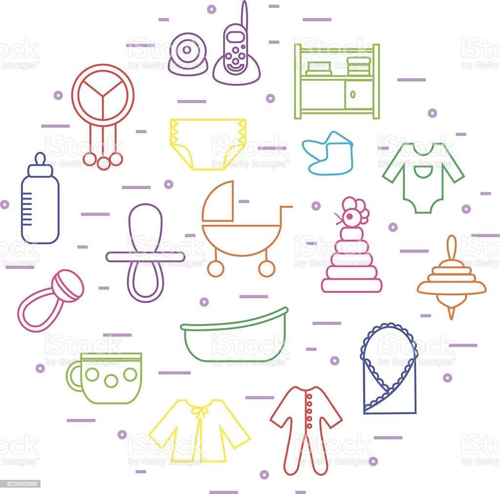 baby icons in circle shape vector art illustration