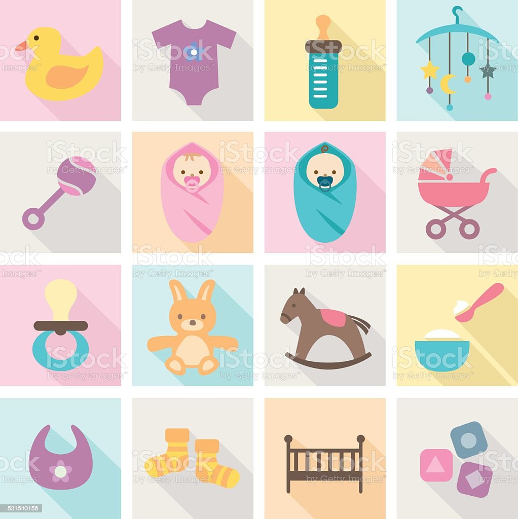 Baby Icons - kids and toys vector art illustration