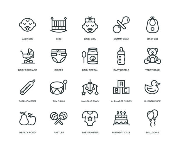 Baby Icons - Line Series Baby Icons - Line Series baby clothing stock illustrations