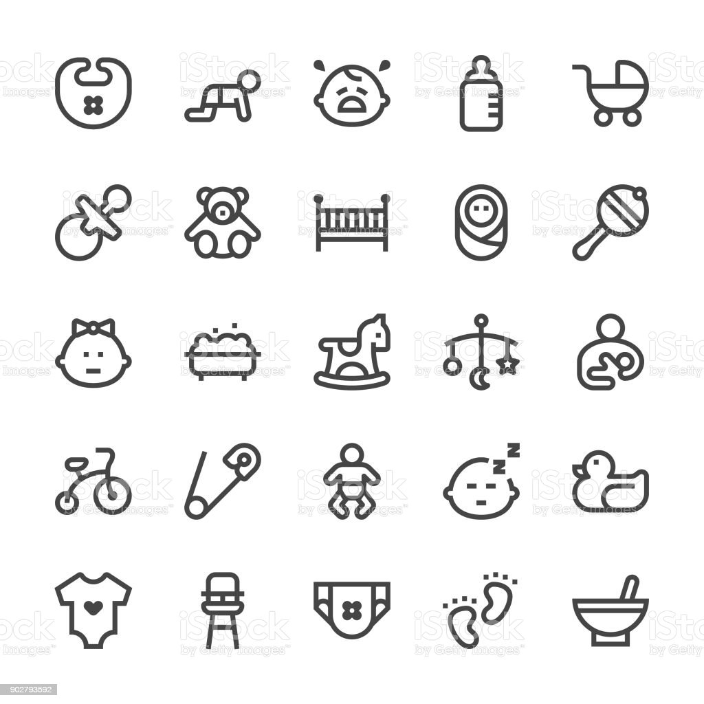 Baby Icons - MediumX Line vector art illustration