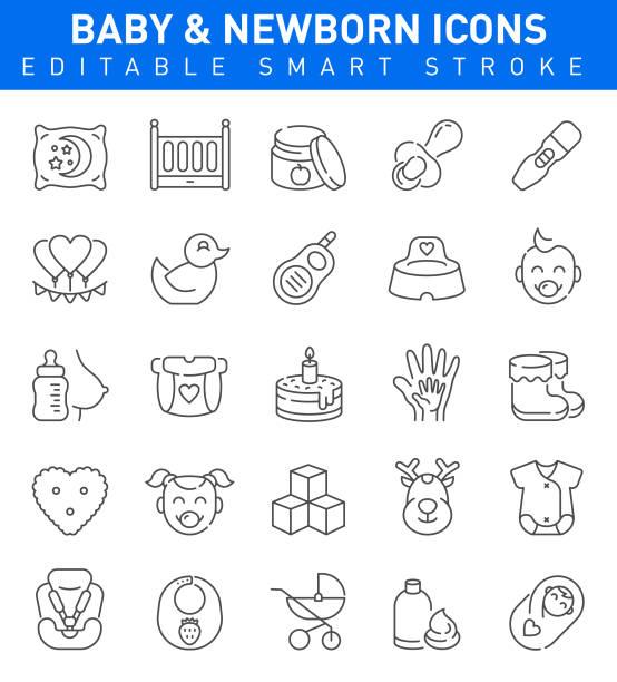 ilustraciones, imágenes clip art, dibujos animados e iconos de stock de iconos de bebé. conjunto de ilustraciones vectoriales para recién nacidos - planificación familiar