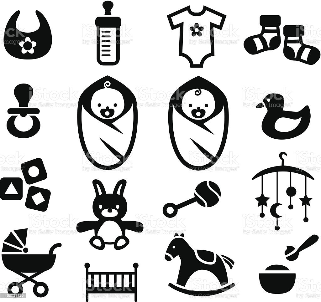 Baby Icons Set vector art illustration