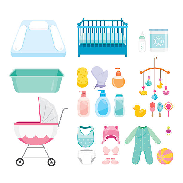 Baby Icons Set Baby, Icons, Accessories, Objects, Infant baby clothing stock illustrations