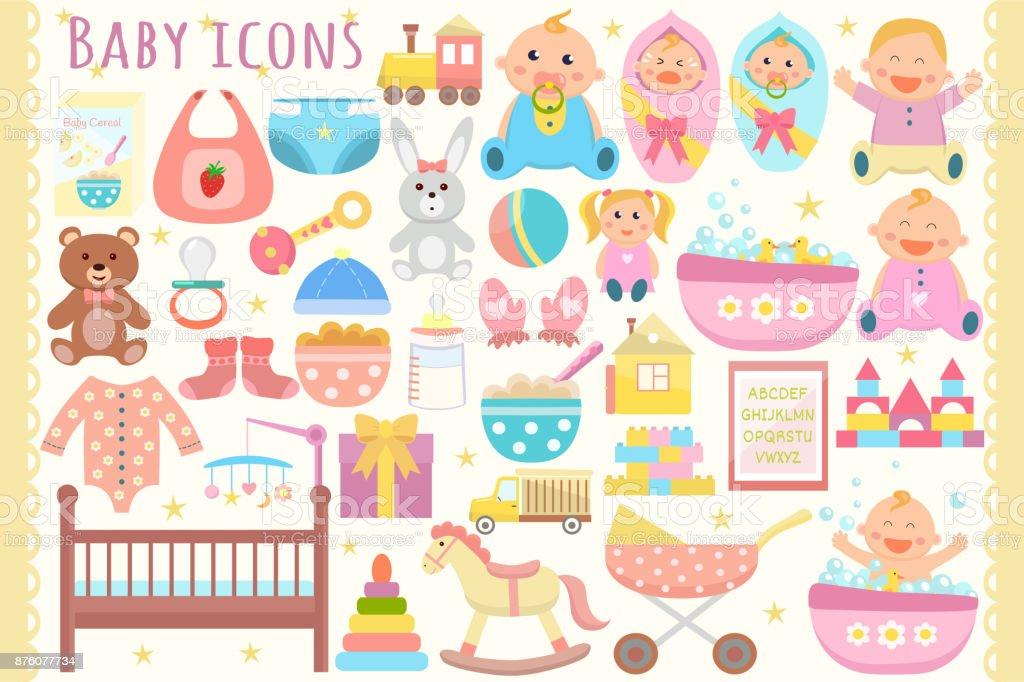 Baby icons set. vector art illustration