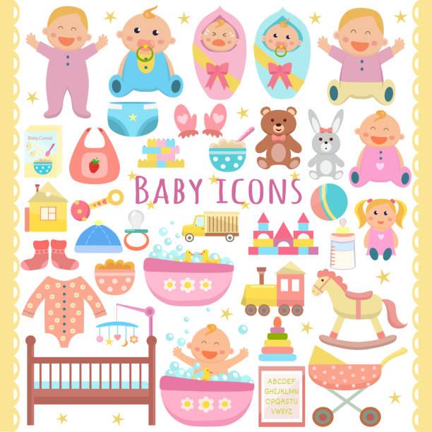 bildbanksillustrationer, clip art samt tecknat material och ikoner med baby ikoner set. - baby bathtub
