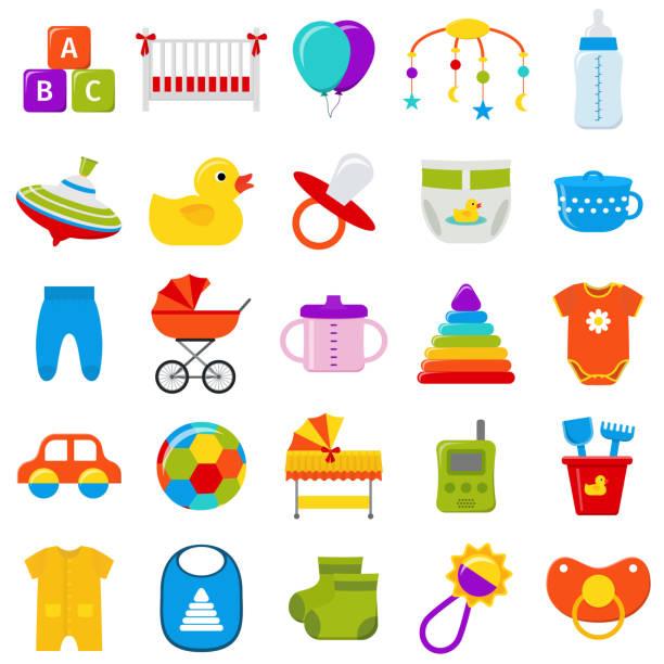 ilustrações, clipart, desenhos animados e ícones de conjunto de ícones de bebê.  ilustração vetorial. - mobile