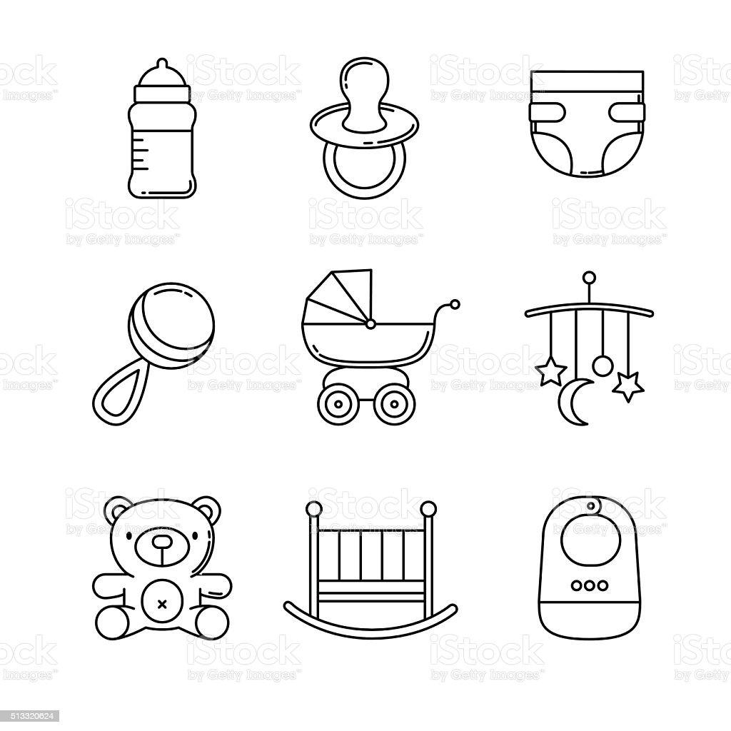 Bébé Ensemble d'icônes ligne mince - Illustration vectorielle
