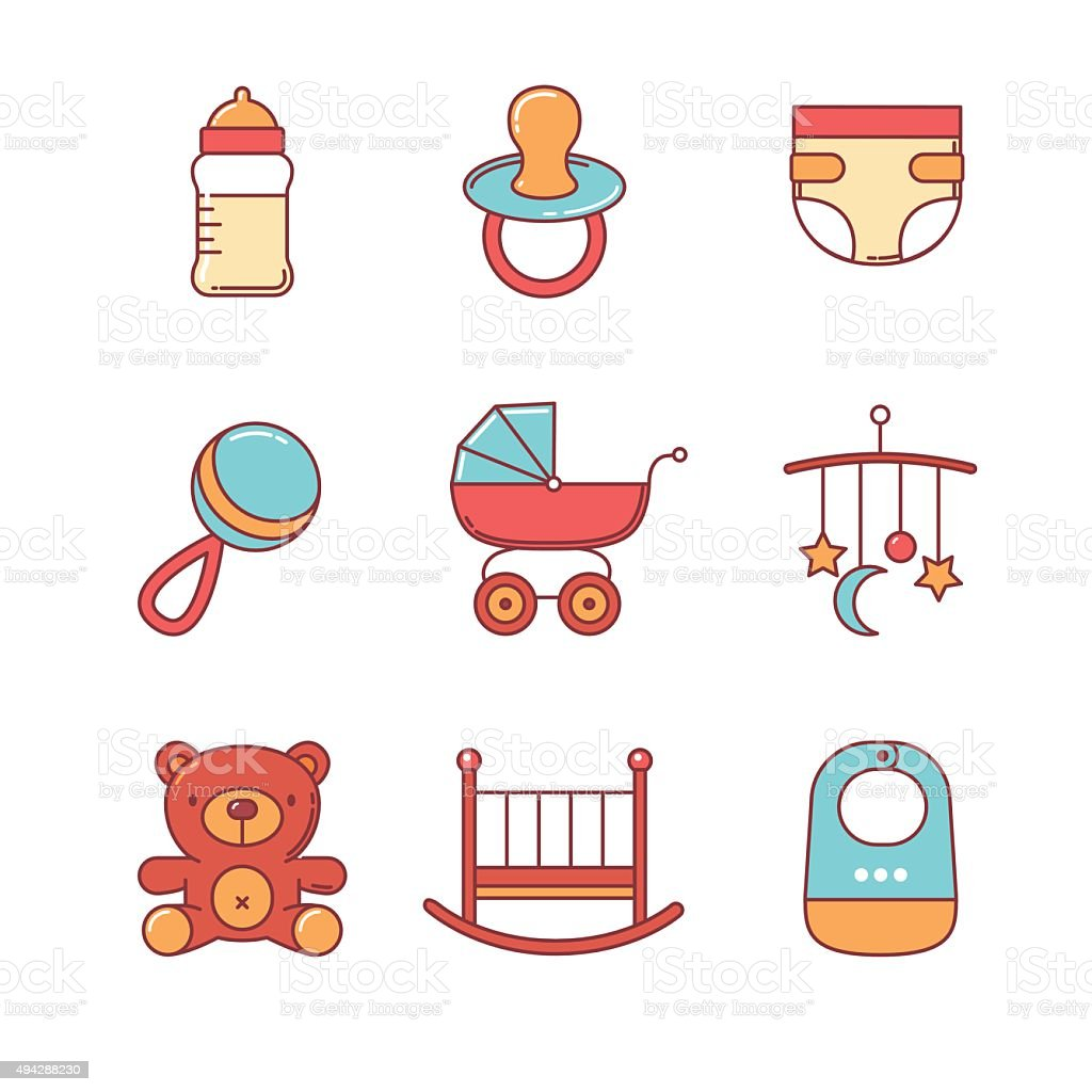 Baby icons thin line set vector art illustration