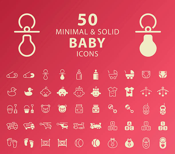 baby icons. - babysitter stock illustrations, clip art, cartoons, & icons