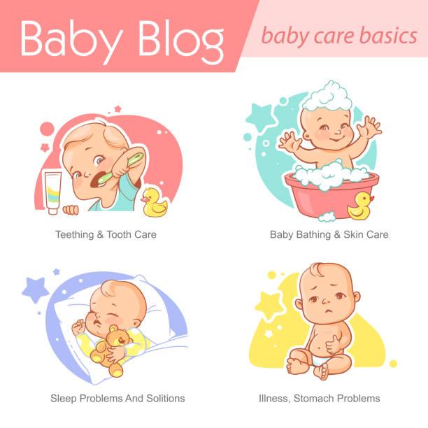 bildbanksillustrationer, clip art samt tecknat material och ikoner med baby illustration. barnomsorg och utveckling. - baby bathtub