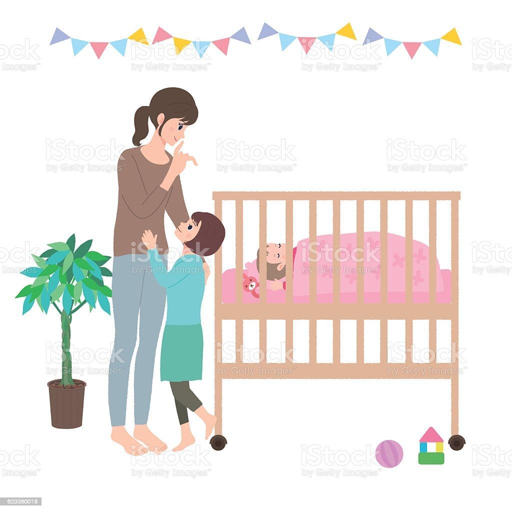 Baby Illustration Crib vector art illustration