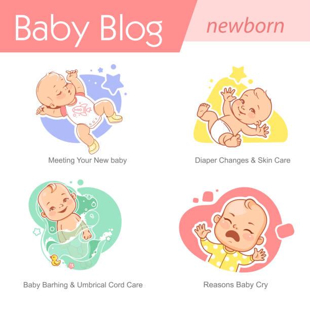 ilustrações, clipart, desenhos animados e ícones de ilustração do bebê. cuidado recém-nascido e desenvolvimento. - novo bebê