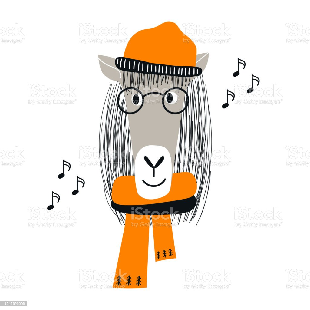Baby Illustration Of A Cute Horse Face With Glasses And Hat In Scandinavian Style Kids Vector Illustration Stock Illustration Download Image Now Istock