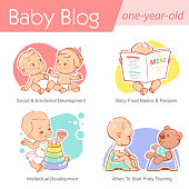 Baby grow, play, sit on potty. First year of child. Healthy boy or girl in diaper.Blog, media, publish design template.Vector illustration