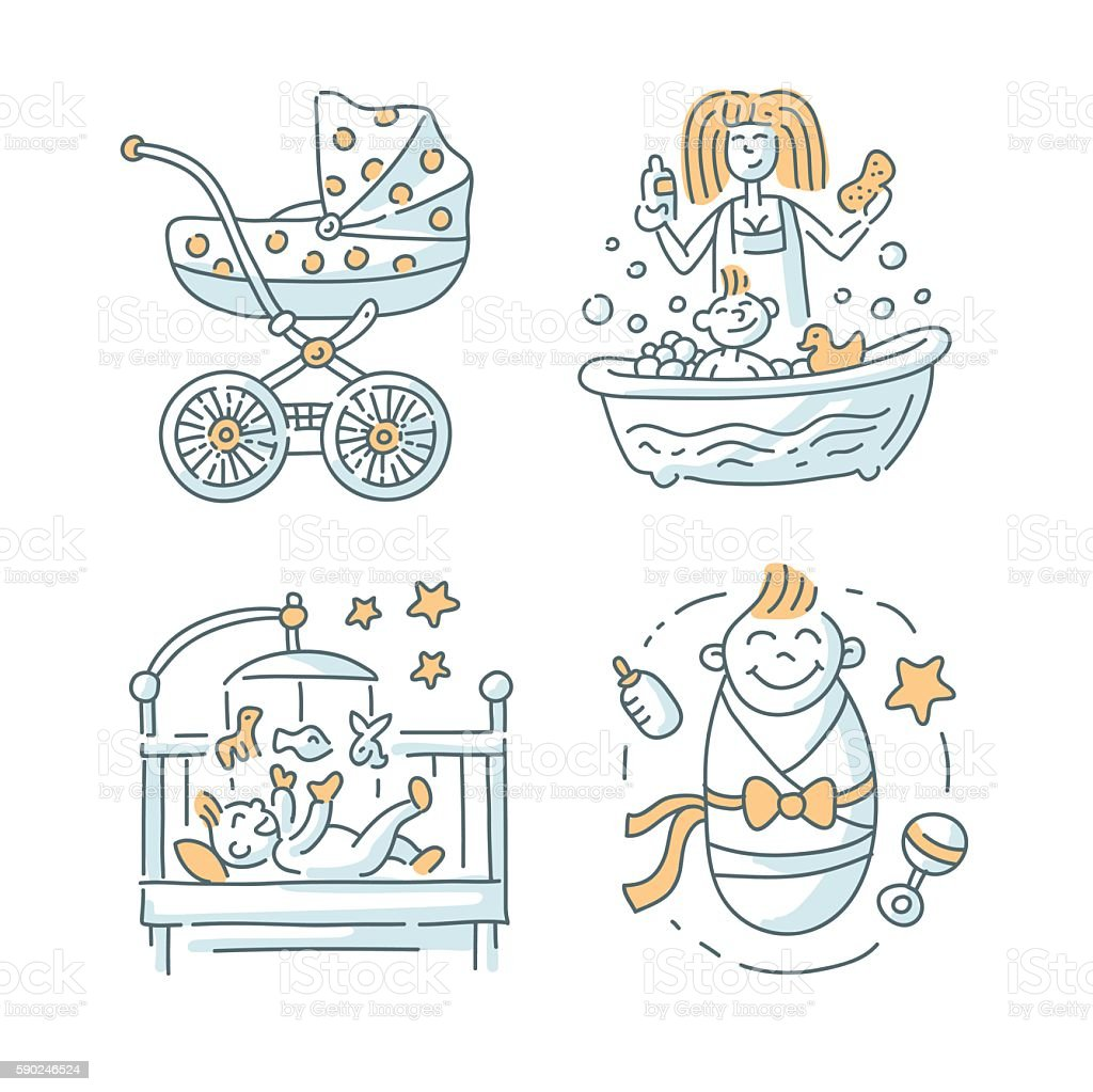 Baby illustration Set on white background vector art illustration