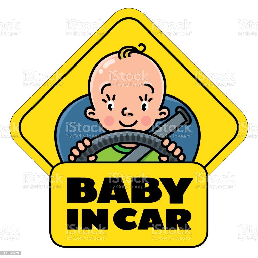 Baby Im Auto Heckscheibe Aufkleber Oder Schild Stock Vektor