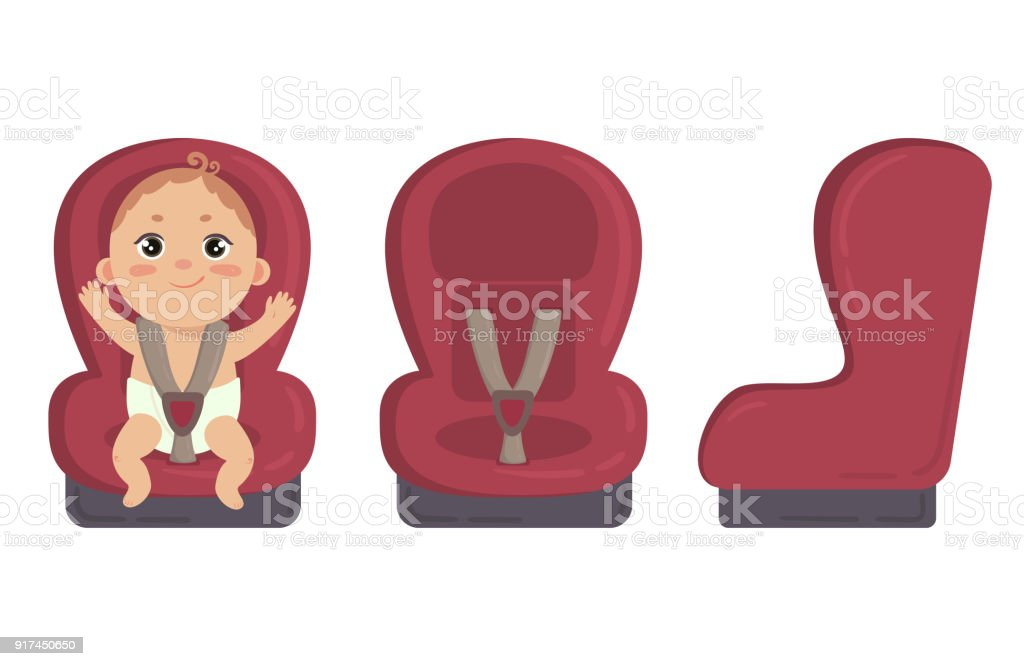 Baby In Car Seat Side And Front Of Safety Chair Stock Vector Art ...