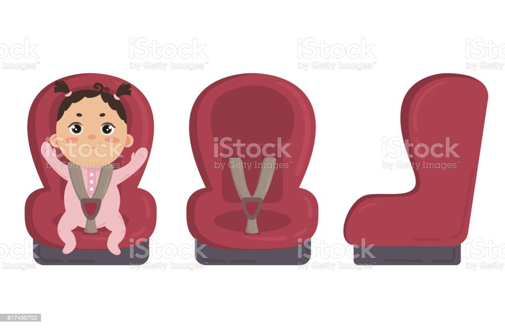 Baby in car seat. Side and front of safety chair vector art illustration