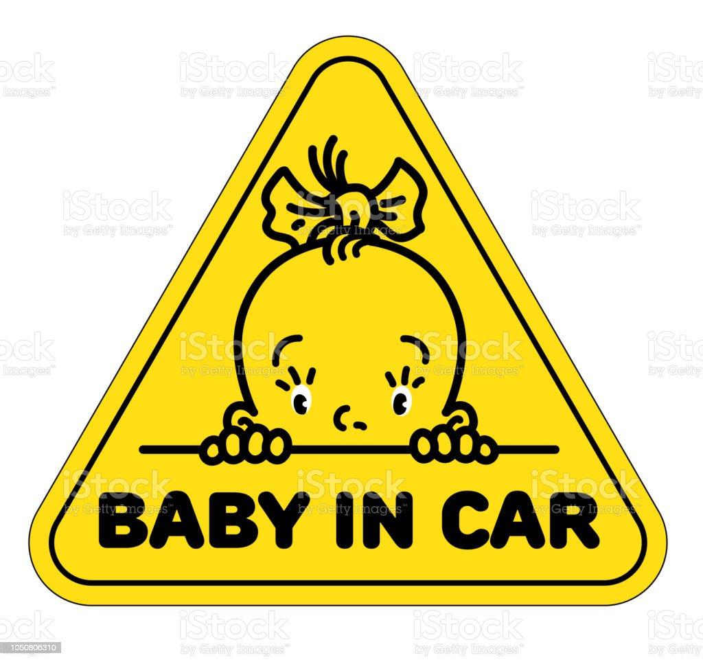 Baby Im Autoaufkleber Lustige Kleine Gesicht Des Mädchens