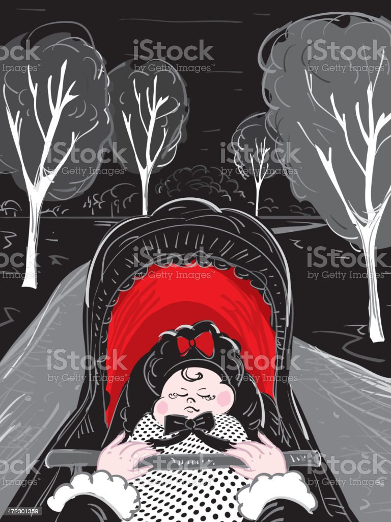 Baby in carriage royalty-free stock vector art