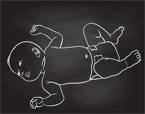 Baby In Diaper Chalkboard