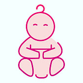 Baby in diaper flat icon. Newborn child vector illustration isolated on white. Cute kid gradient style design, designed for web and app. Eps 10
