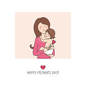 Baby in embrace of mother - card of happy mother's day. Vector illustration.