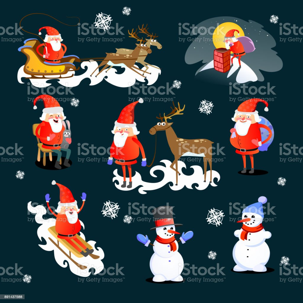 baby in hands of Santa Claus makes wish, man in red suit and beard with bag of gifts behind him climbs into chimney, sleigh reindeer harness drive Christmas mood, merry snowman vector illustration vector art illustration