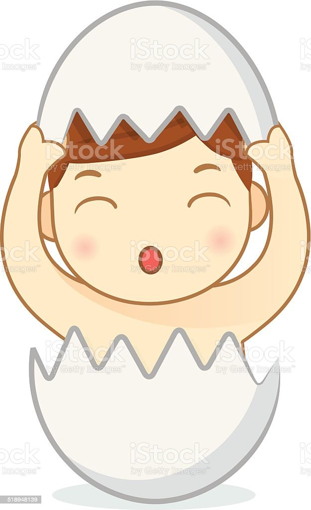 Baby in the egg vector art illustration