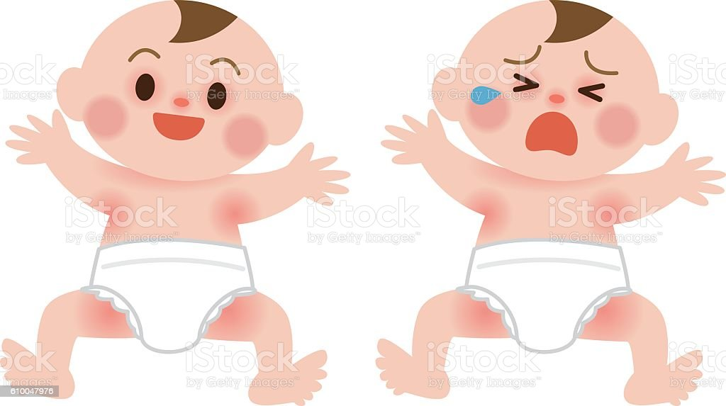 Baby is crying in the rash vector art illustration