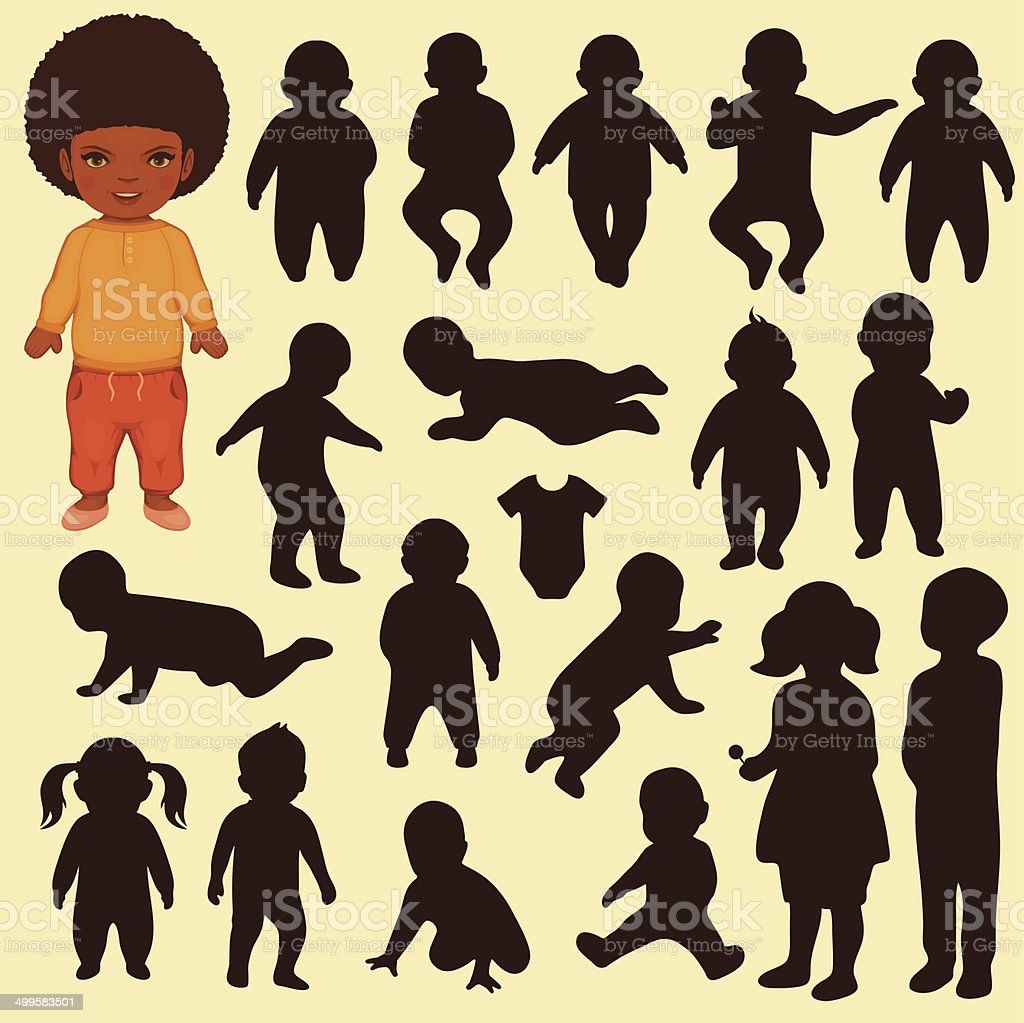 baby isolated  silhouette vector art illustration
