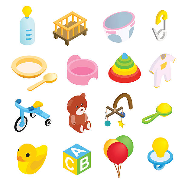Baby isometric 3d icon set Baby isometric 3d icon set isolated on white background baby clothing stock illustrations