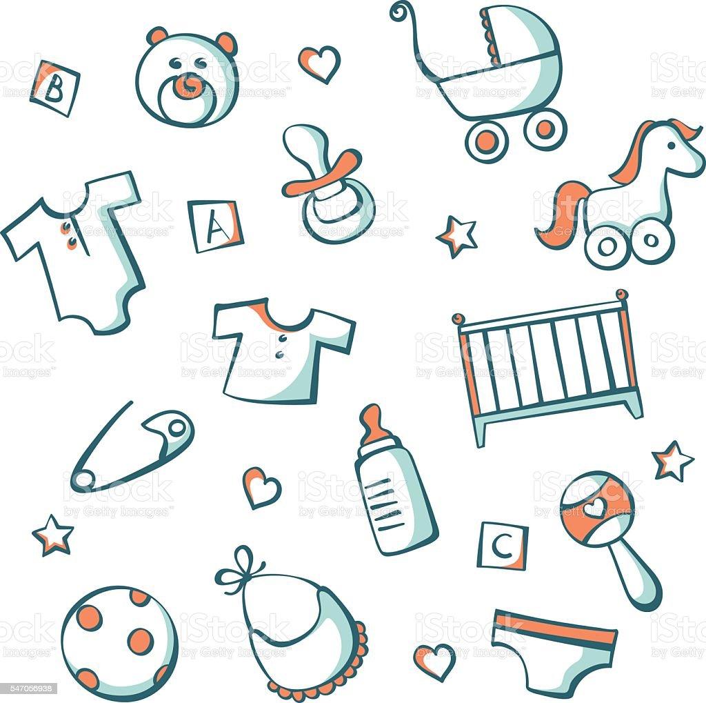 Baby item icon set vector art illustration