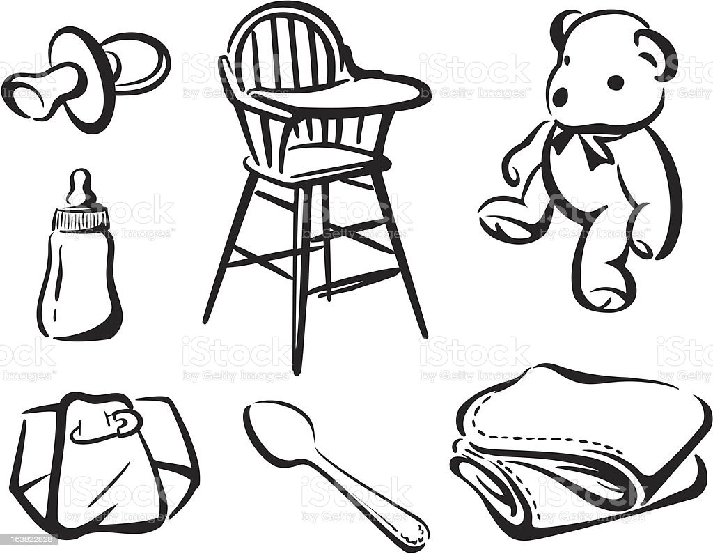 Baby Items 1 royalty-free stock vector art