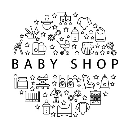 Baby items circle banner with flat line icons. Template for baby shop. In the center you can write any text.