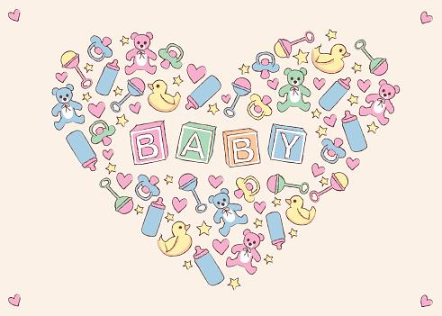 Baby items creating heart shape.