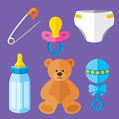 Vector illustration of a baby icon set in flat style.