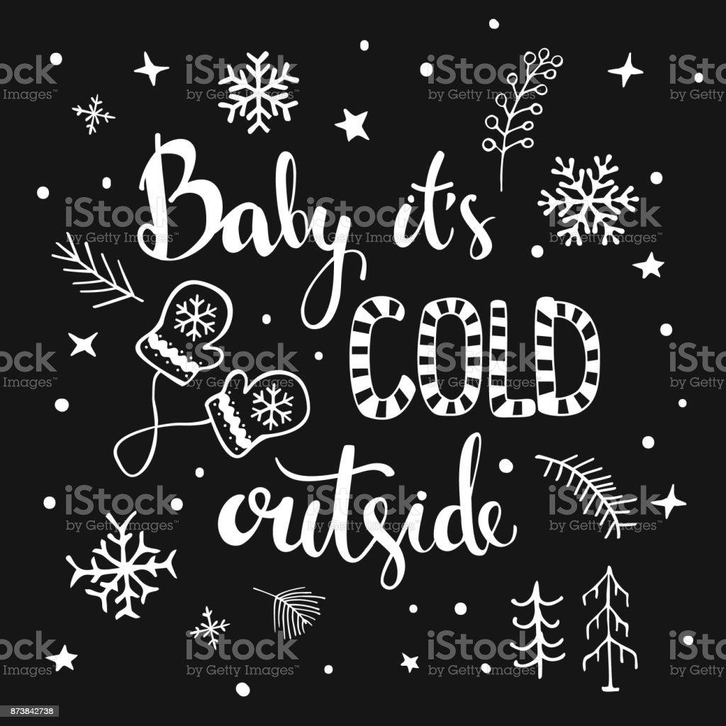 Su exterior frío escritas a mano para bebés y cartel de texto blanco y negro tipográfico dibujado a mano - ilustración de arte vectorial