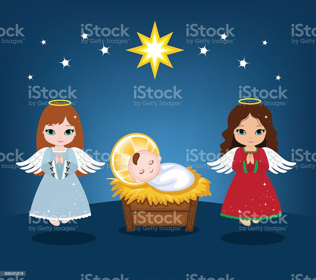 baby jesus and christmas angels vector illustration stock vector