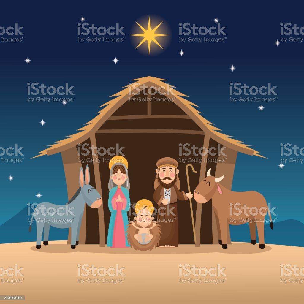 Baby Jesus Maria und Josef design – Vektorgrafik