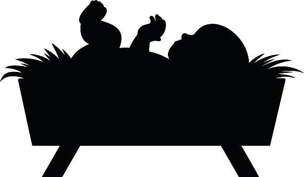 Baby Jesus A vector illustration of a baby Jesus silhouette. nativity silhouette stock illustrations
