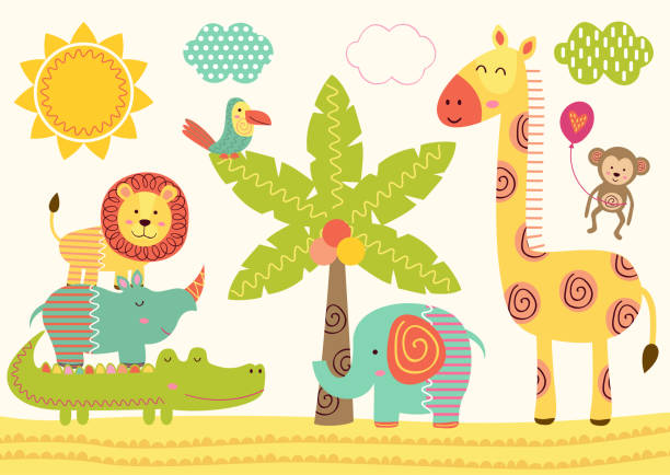 baby jungle animals near the palm tree - baby animals stock illustrations
