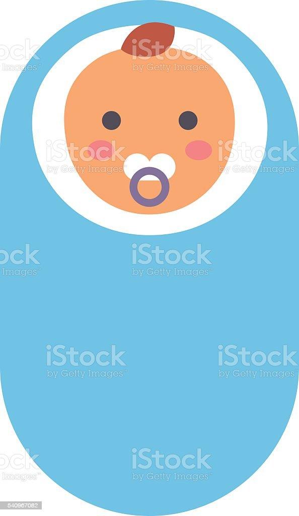 Baby kid in diaper vector illustration. vector art illustration