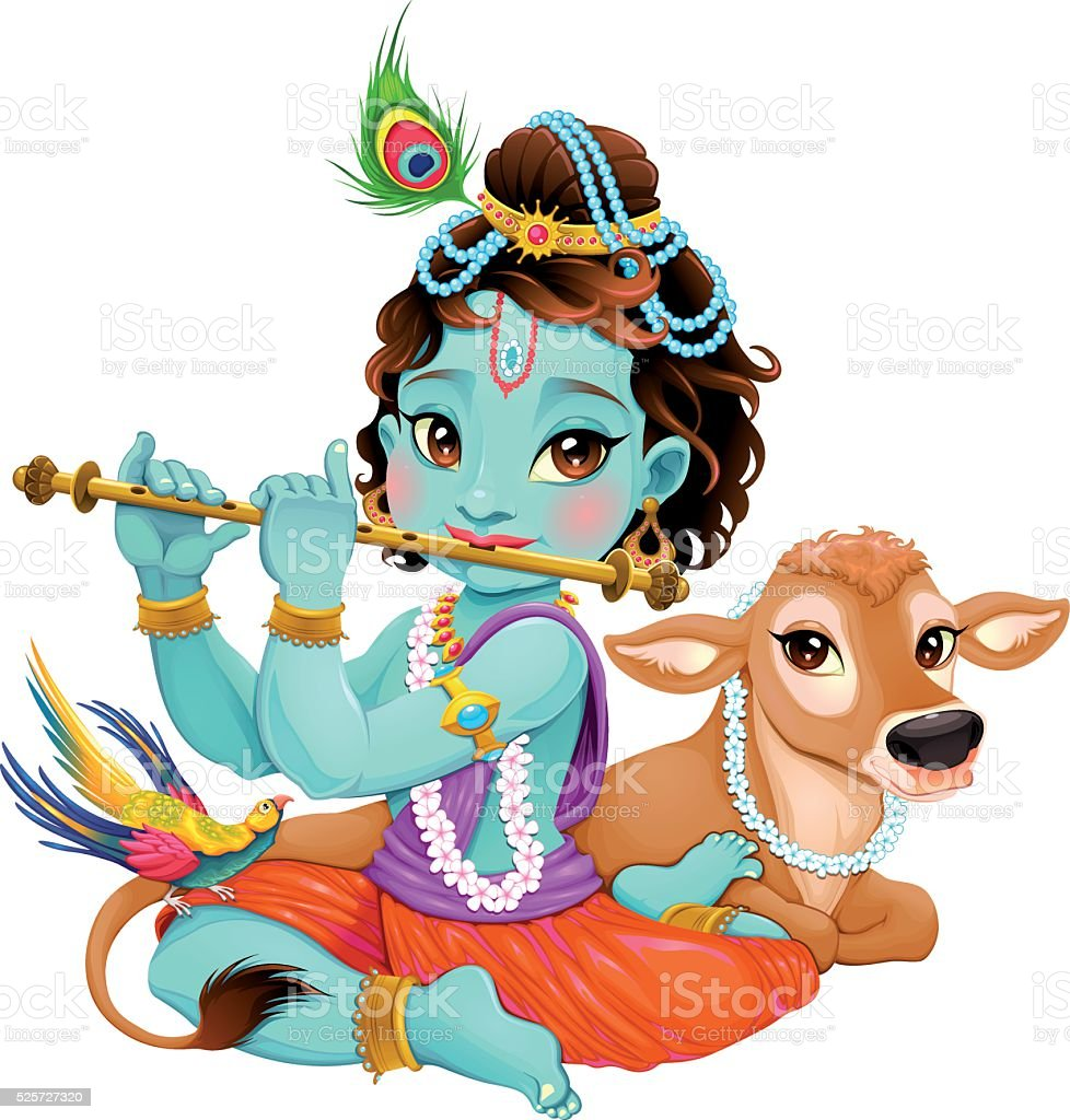 Baby Krishna with sacred cow vector art illustration