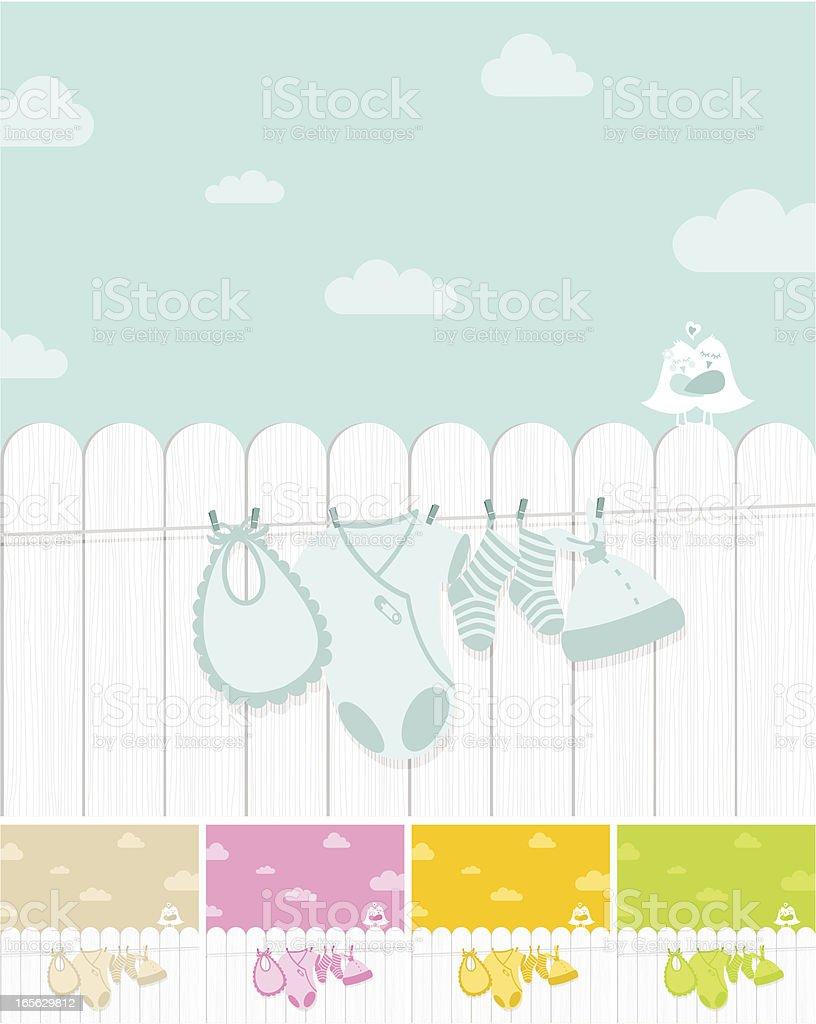 Baby laundry vector art illustration