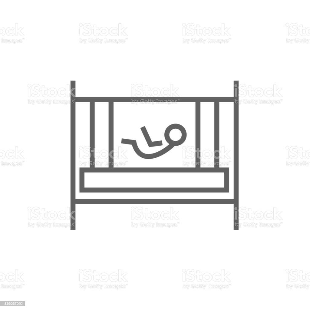 Baby laying in crib line icon vector art illustration